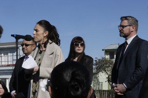 Labour leader Jacinda Ardern announces 149 starter homes and state houses under Labour for Palmerston North.